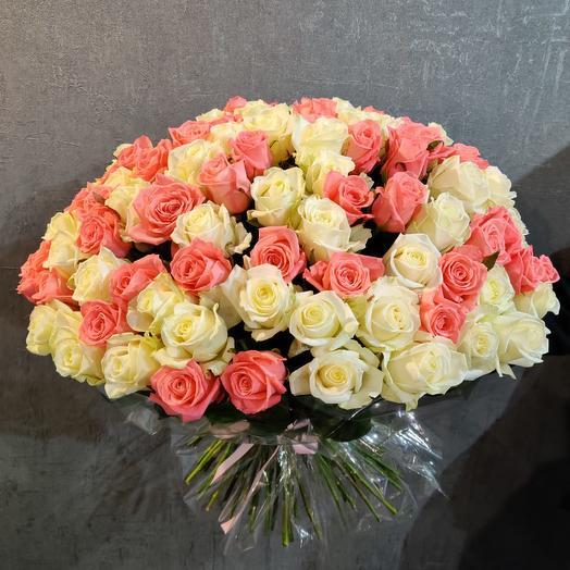 """Букет из 101 розы """"Микс"""": букеты цветов на заказ Flowwow"""