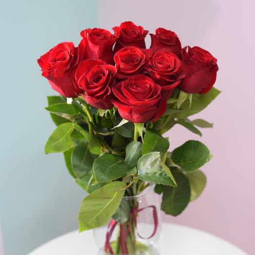 9 красных роз 40 см