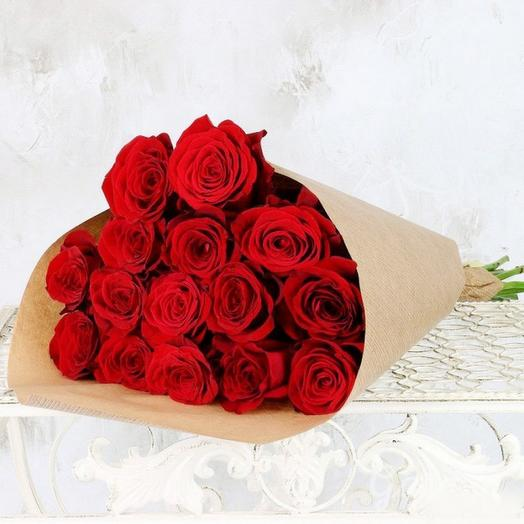 15 эквадорских роз в упаковке: букеты цветов на заказ Flowwow