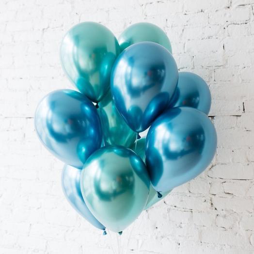 Набор хромированных шаров 10 шт синий и зелёный