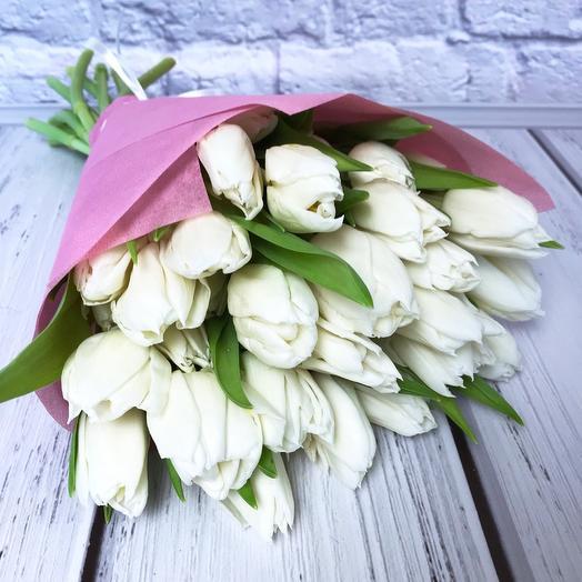 19 белых тюльпанов: букеты цветов на заказ Flowwow
