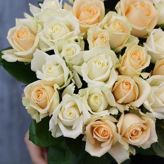 25 роз нежный микс 50-60 см (Россия) под атласную ленту