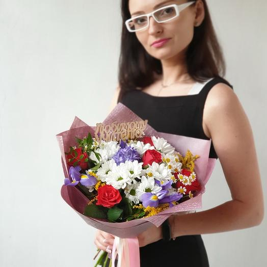 Букет учителю из роз, хризантем, ирисов