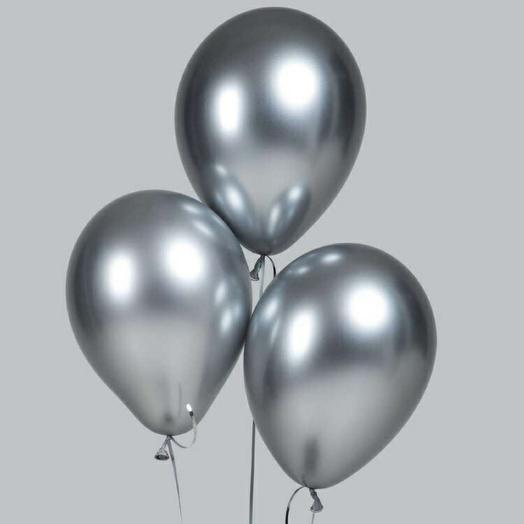 Воздушный шар хром 30 см СЕРЕБРЯННЫЙ