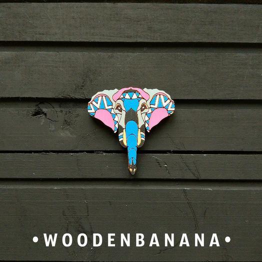 "Брошь BananaWood ""Слон.Голова"""