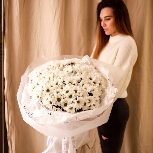 Букет Белоснежных Кустовых Хризантем