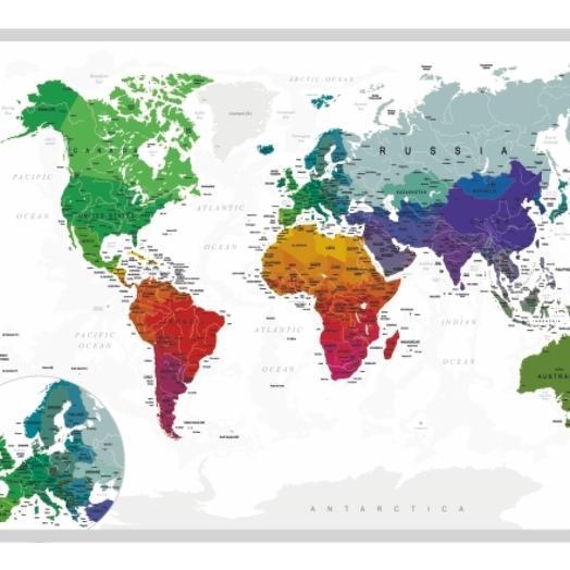 Скретч-карта мира A1 - 84 х 60 см (SILVER)