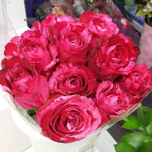 """Монобукет из 9 роз сорта """"Frou Frou"""""""