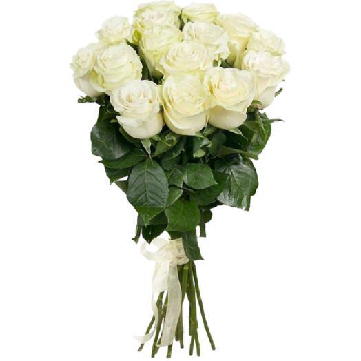 Букет из 15 крупных белых эквадорских роз 50 см