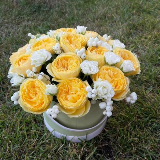 Цветы в коробке с пионовидной розой😍😍😍😍😍😍