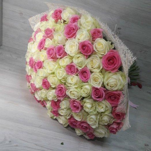 101 бело-розовый розы: букеты цветов на заказ Flowwow