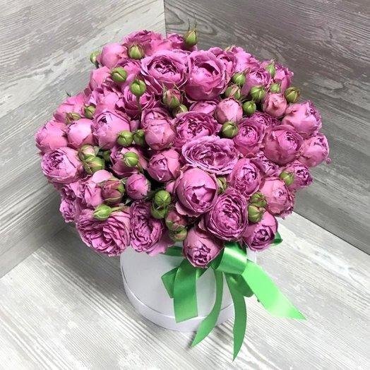 25 пионовидных роз в коробочке: букеты цветов на заказ Flowwow