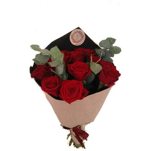 "Букет ""11 красных роз с зеленью"": букеты цветов на заказ Flowwow"