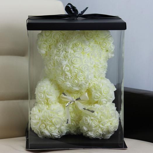 Мишка из роз «Айвори»: букеты цветов на заказ Flowwow