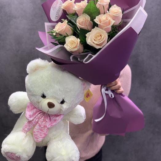 Комплект из роз и мишки: букеты цветов на заказ Flowwow