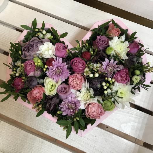 Деревянное сердце с цветами: букеты цветов на заказ Flowwow