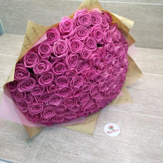 101 розовая роза Аква: букеты цветов на заказ Flowwow