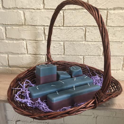 Набор свечей ручной работы синий: букеты цветов на заказ Flowwow