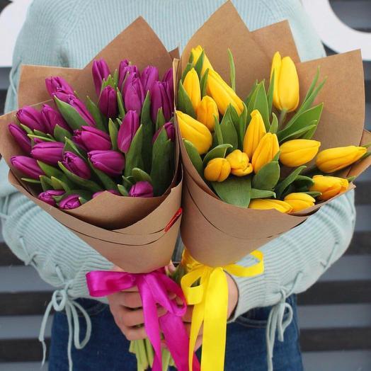 Кулечек тюльпанов: букеты цветов на заказ Flowwow