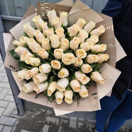 51 кремовая импортная роза