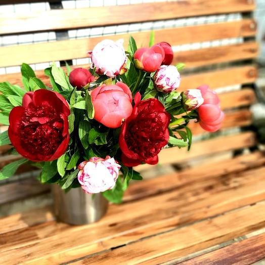 Букет из 11 разноцветных пионов: букеты цветов на заказ Flowwow