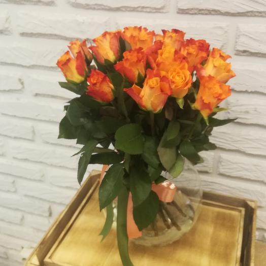 """""""НК"""" 19 оранжевых кенийских роз: букеты цветов на заказ Flowwow"""