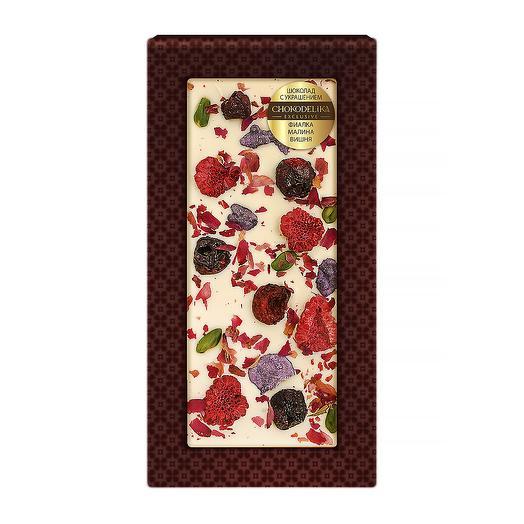 Шоколад белый с украшением Фиалка, малина, вишня