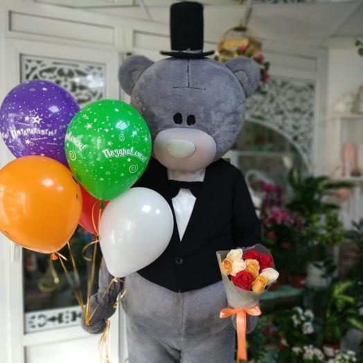 Доставка от Тедди +5 шаров+9 роз