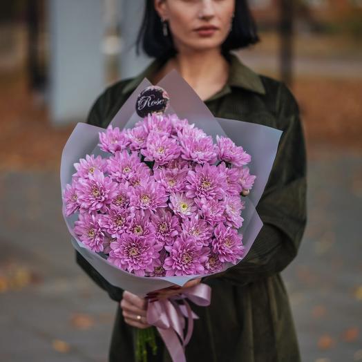 Букет из семи хризантем розовой Балтики