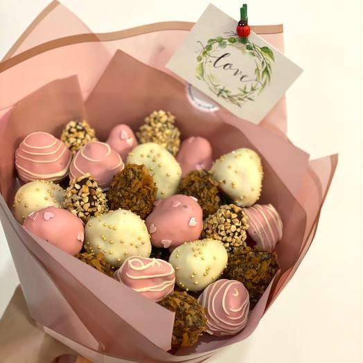Букет из 25шт клубничек в бельгийском шоколаде