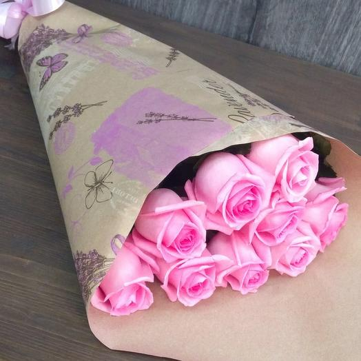 Pink roses in craft packaging