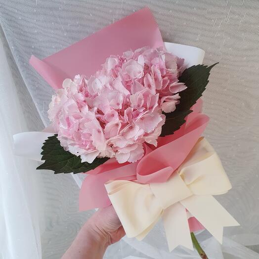 Минибукет из 1 розовой гортензии с бантом