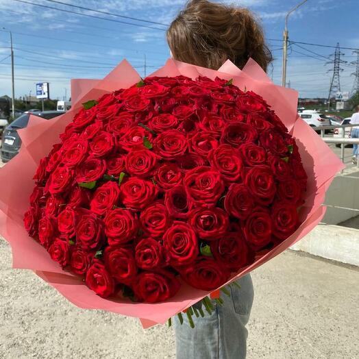101 Красная роза Россия 50см