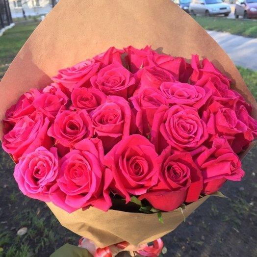 23 розовых розы: букеты цветов на заказ Flowwow