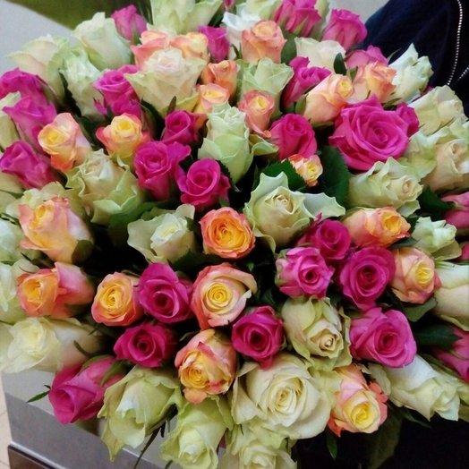 Букет 101 роза Ассорти: букеты цветов на заказ Flowwow