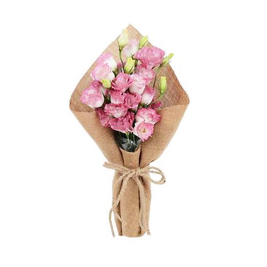 Монобукет эустомы в мешковине: букеты цветов на заказ Flowwow