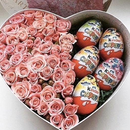 """Цветы в коробочке """"Киндер"""": букеты цветов на заказ Flowwow"""