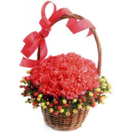Корзина Гвоздик с гиперикум: букеты цветов на заказ Flowwow
