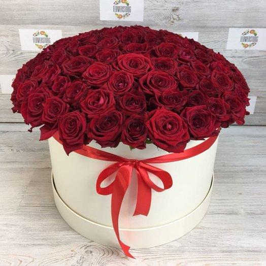 Коробки с цветами. Роза красная. 101 роза. N83