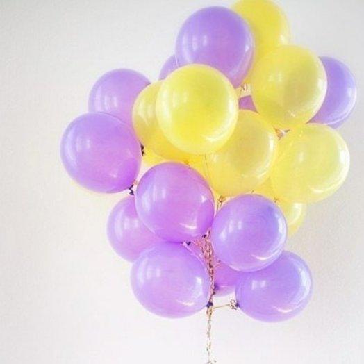 """Охапка воздушных шаров """"Солнечная сирень"""" 20 шт"""