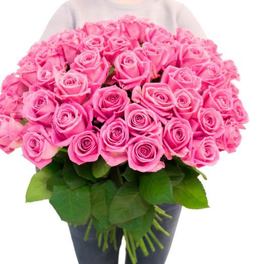 Розовая Роза 51 шт: букеты цветов на заказ Flowwow