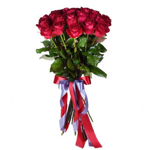 25 малиновых роз: букеты цветов на заказ Flowwow