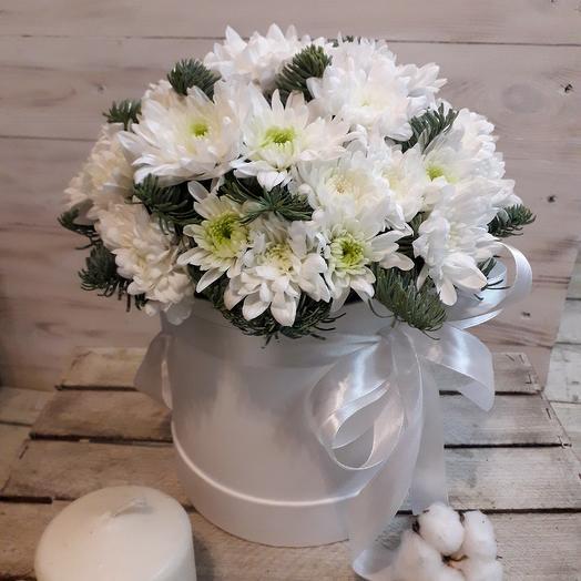 Ароматная хризантема в коробке: букеты цветов на заказ Flowwow