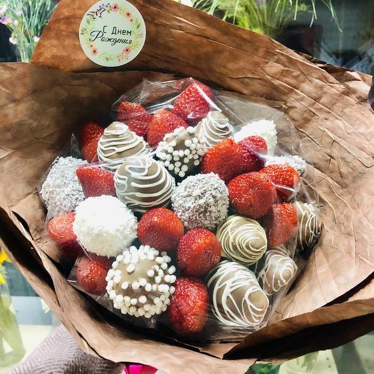 Букет из клубники «Какао»: букеты цветов на заказ Flowwow