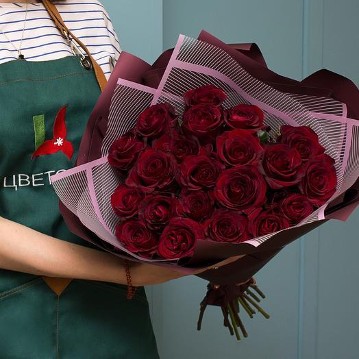 Букет из 21 красной розы 50 см (Эквадор) premium