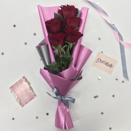 5 роз в корейской упаковке