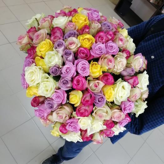 101 Роза 60см микс: букеты цветов на заказ Flowwow