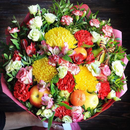 Цветочно-фруктовый букет для Ветеранов