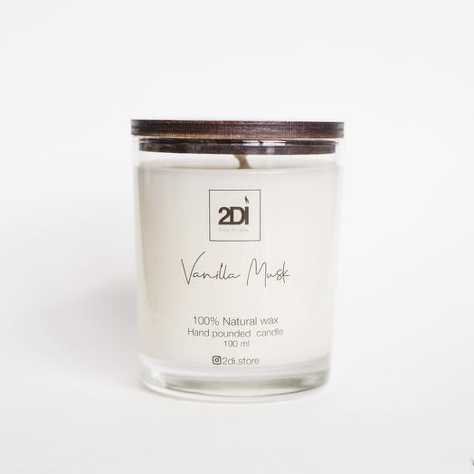 Натуральная аромасвеча ручной работы 190 мл, хлопковый фитиль - Vanilla Musk, Ванильный мускус