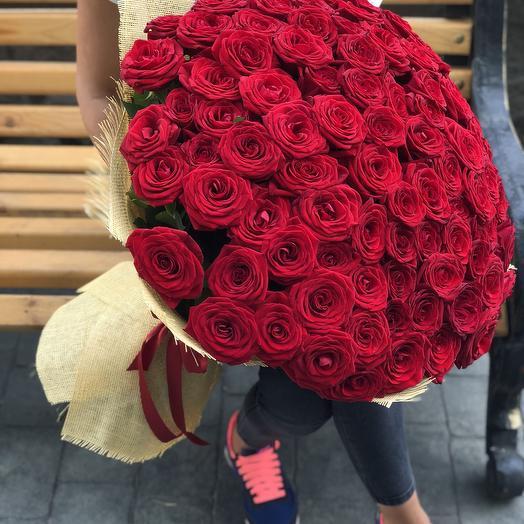 Букет 101 Бордовая Роза 60 см